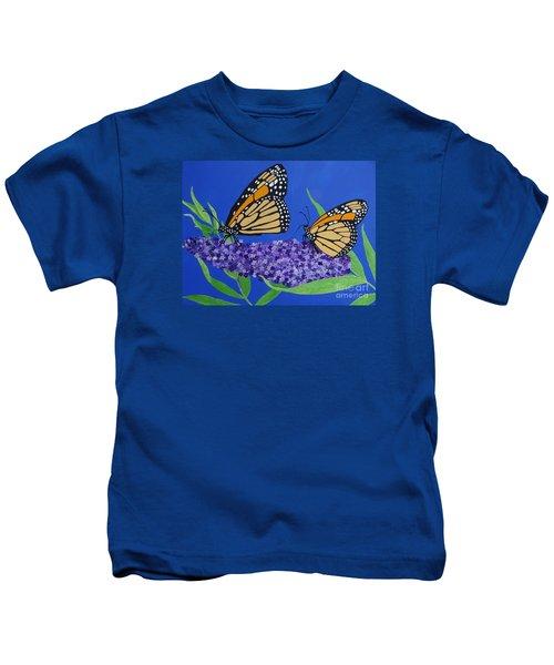 Monarch Butterflies On Buddleia Flower Kids T-Shirt