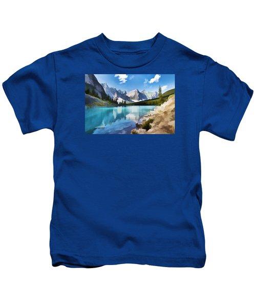 Moraine Lake At Banff National Park Kids T-Shirt