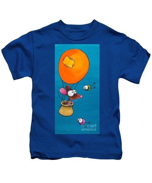 Mouse In His Hot Air Balloon Kids T-Shirt