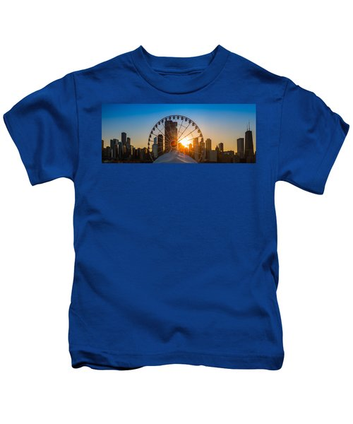 Navy Pier Sundown Chicago Kids T-Shirt by Steve Gadomski
