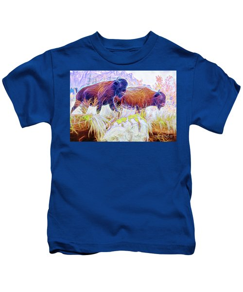 Neon Bison Pair Kids T-Shirt