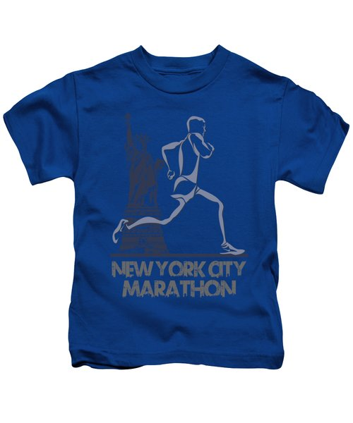 New York City Marathon3 Kids T-Shirt by Joe Hamilton