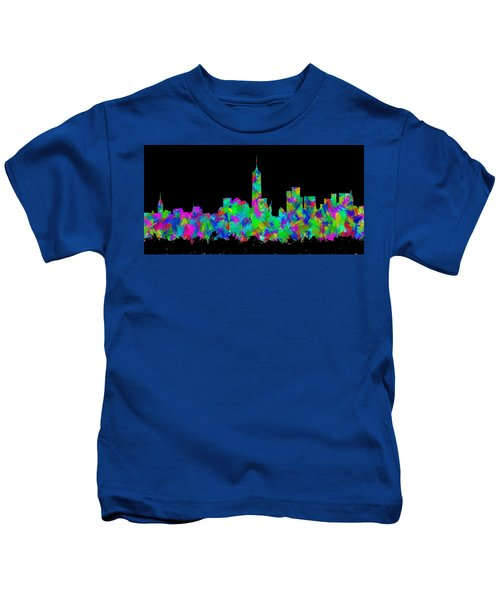 New York City Skyline Abstract Silhouette II Kids T-Shirt