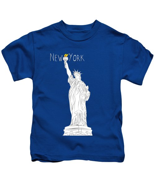 Ny Statue Of Liberty Line Art Kids T-Shirt