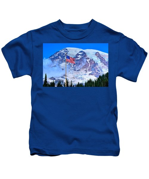 Old Glory At Mt. Rainier Kids T-Shirt