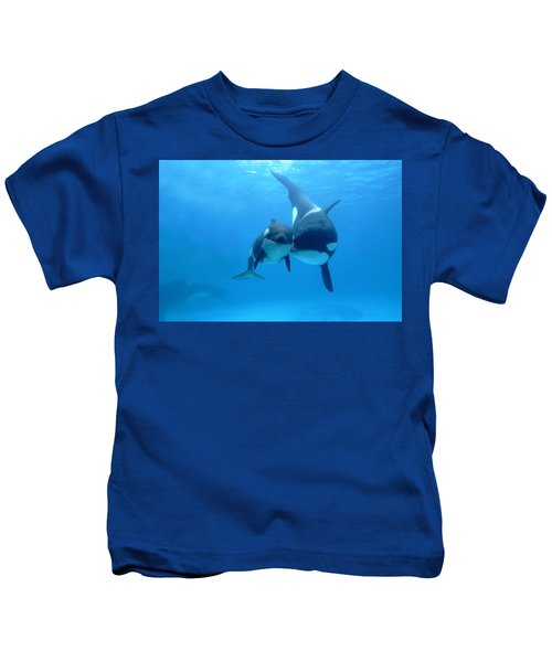 Orca Orcinus Orca Mother And Newborn Kids T-Shirt