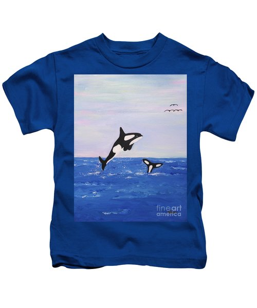 Orcas In The Morning Kids T-Shirt