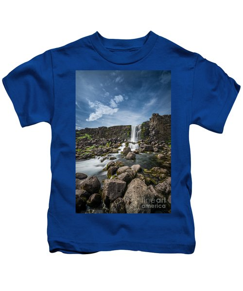 Oxararfoss Waterfall In Iceland Kids T-Shirt