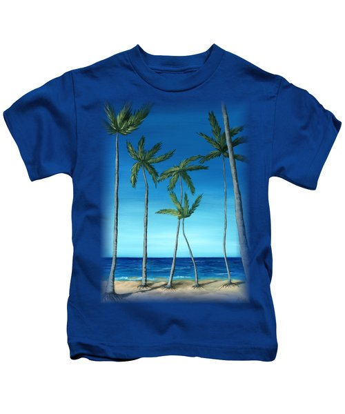 Palm Trees On Blue Kids T-Shirt