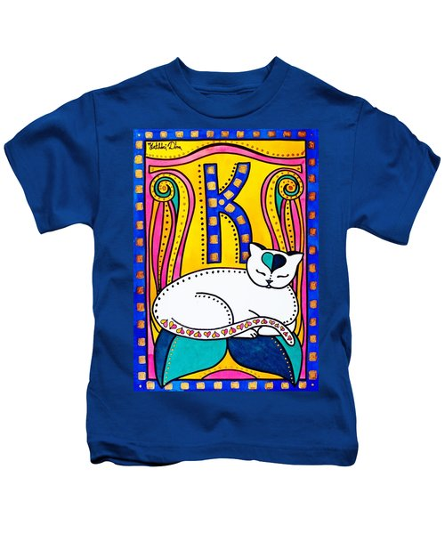 Peace And Love - Cat Art By Dora Hathazi Mendes Kids T-Shirt