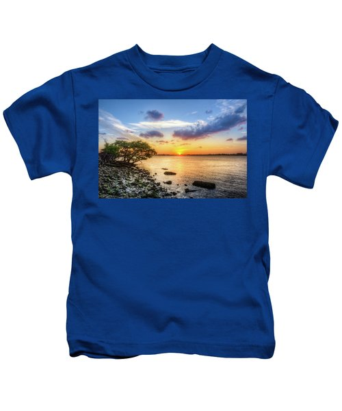 Peaceful Evening On The Waterway Kids T-Shirt