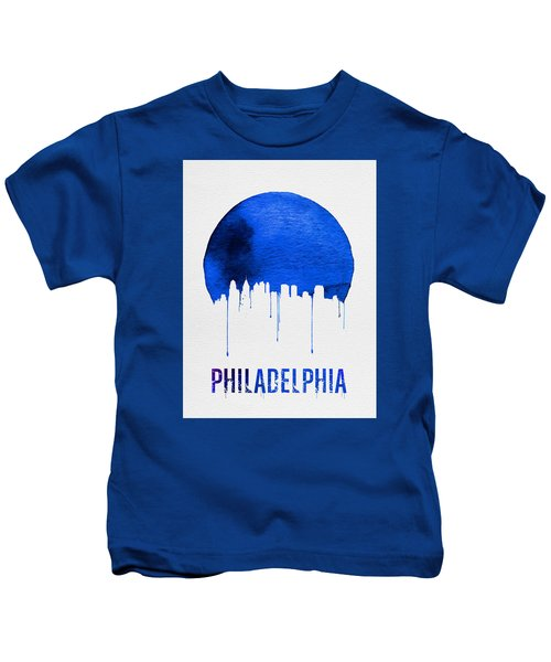 Philadelphia Skyline Blue Kids T-Shirt by Naxart Studio