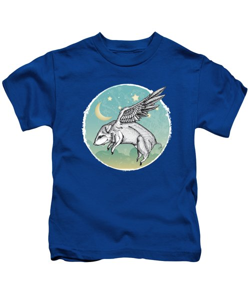 Pigs Fly - 2 Kids T-Shirt by Mary Machare