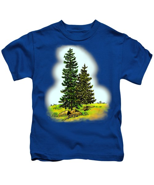 Pine Tree Nature Watercolor Ink Image 2         Kids T-Shirt