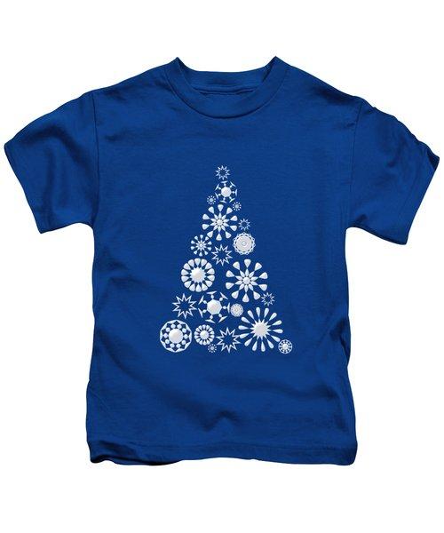 Pine Tree Snowflakes - Dark Blue Kids T-Shirt