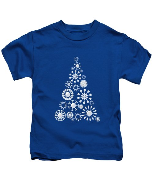 Pine Tree Snowflakes - Dark Blue Kids T-Shirt