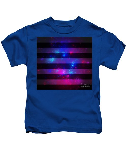 Pink And Blue Striped Galaxy Kids T-Shirt