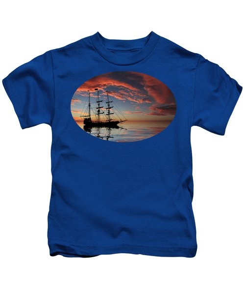 Pirate Ship At Sunset Kids T-Shirt