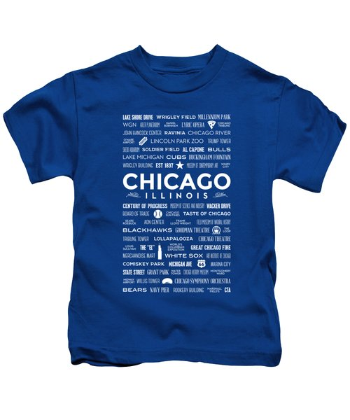 Places Of Chicago On Blue Chalkboard Kids T-Shirt by Christopher Arndt
