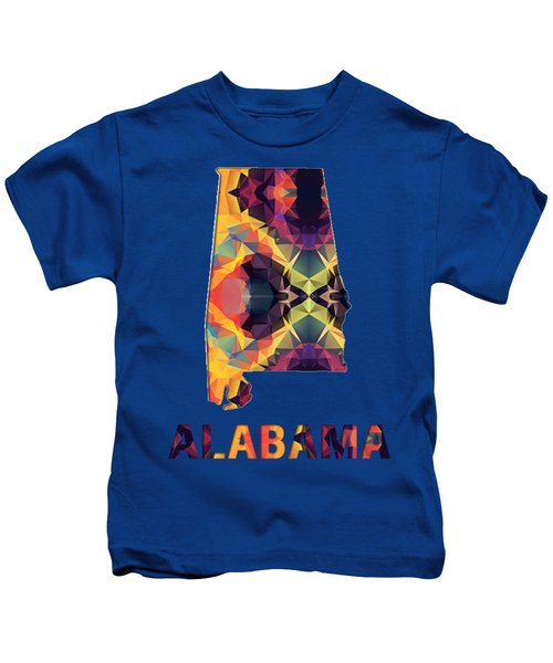 Polygon Mosaic Parchment Map Alabama Kids T-Shirt