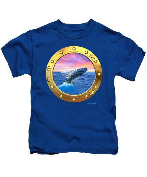 Porthole View Of Breaching Whale Kids T-Shirt by Glenn Holbrook