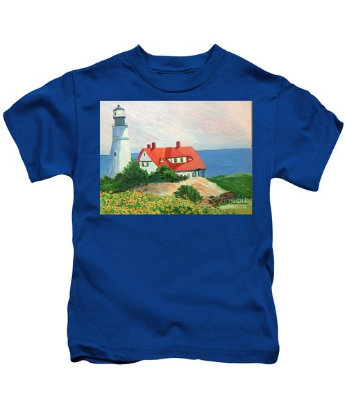 Portland Headlight With Brown Eyed Susans Kids T-Shirt