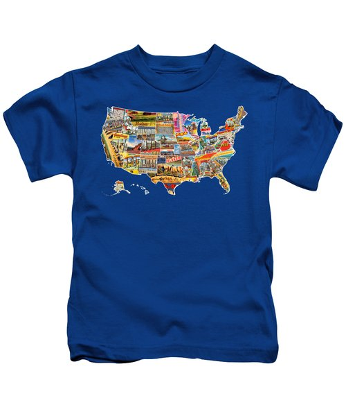 Postcards Of The United States Vintage Usa All 50 States Map Kids T-Shirt