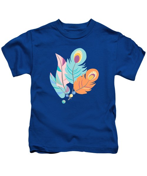 Pretty Boho Peacock Feather Pattern Kids T-Shirt