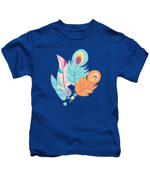 Pretty Boho Peacock Feather Pattern Kids T-Shirt