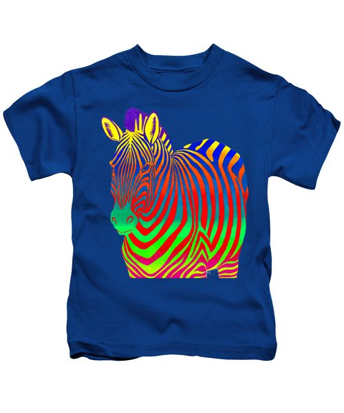 Psychedelic Rainbow Zebra Kids T-Shirt