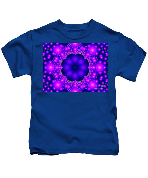 Purple And Pink Glow Fractal Kids T-Shirt