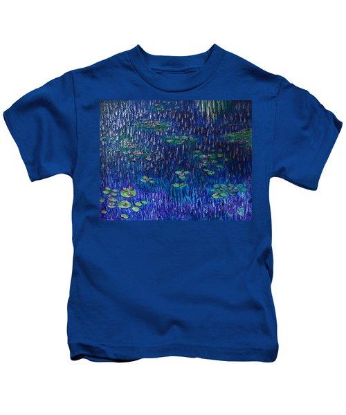 Purple Rain On Water Lilies Kids T-Shirt