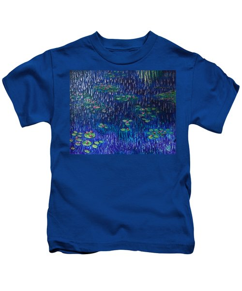 Purple Rain On Water Lilies Kids T-Shirt