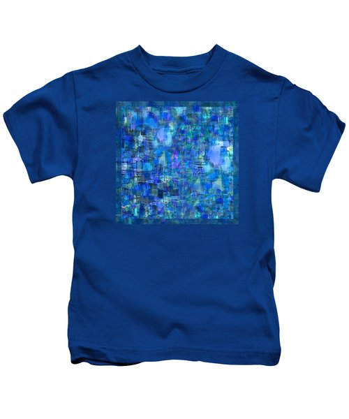 Rainy Day Blue Abstract Kids T-Shirt