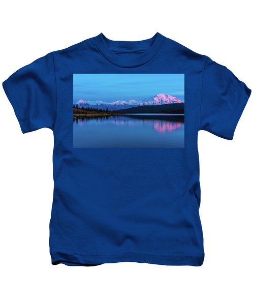 Sunset Reflections Of Denali In Wonder Lake Kids T-Shirt
