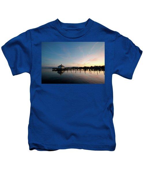 Roanoke Marshes Lighthouse At Dusk Kids T-Shirt