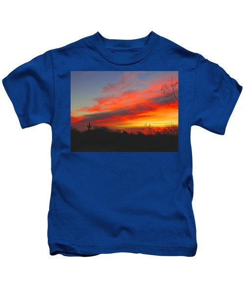 Saguaro Winter Sunrise Kids T-Shirt