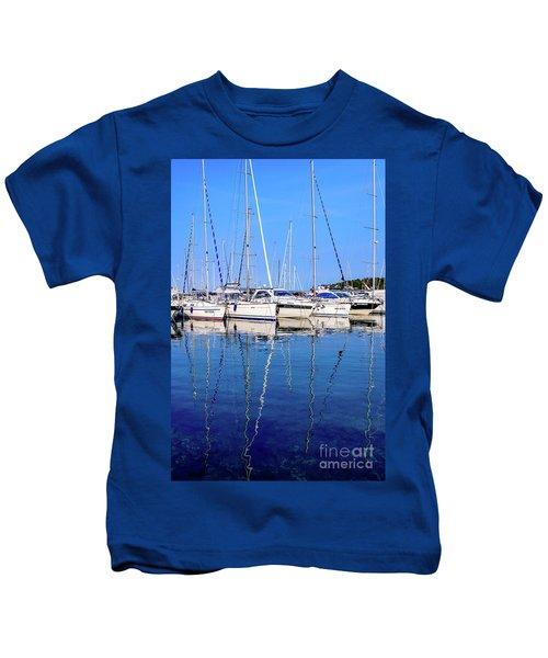 Sailboat Reflections - Rovinj, Croatia  Kids T-Shirt
