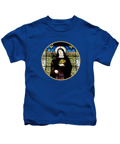 Saint Amelia Stained Glass Window In The Round Kids T-Shirt