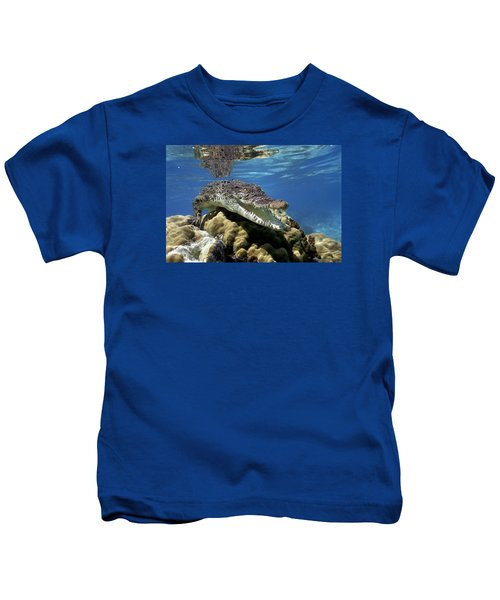 Saltwater Crocodile Smile Kids T-Shirt by Mike Parry