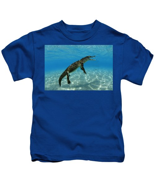 Saltwater Crocodile Kids T-Shirt by Franco Banfi and Photo Researchers