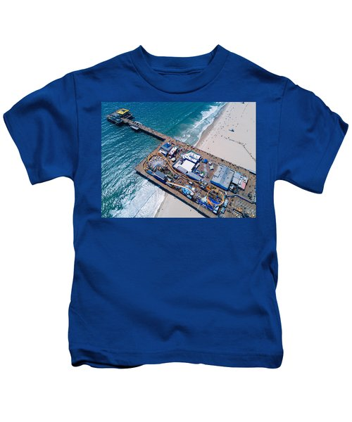 Santa Monica Pier From Above Side Kids T-Shirt by Andrew Mason