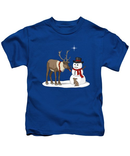 Santa Reindeer And Snowman Kids T-Shirt