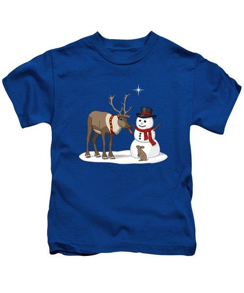 Santa Reindeer And Snowman Kids T-Shirt