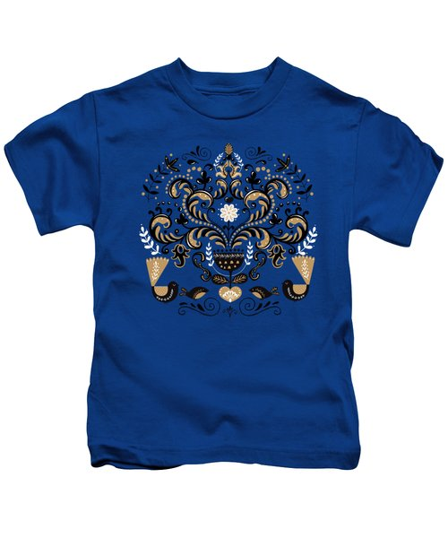 Scandinavian Floral Decoration With Birds Kids T-Shirt