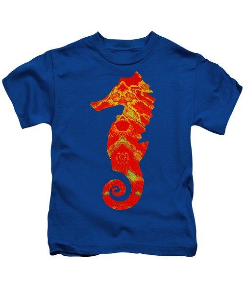 Seahorse Turquoise And Orange Left Facing Kids T-Shirt