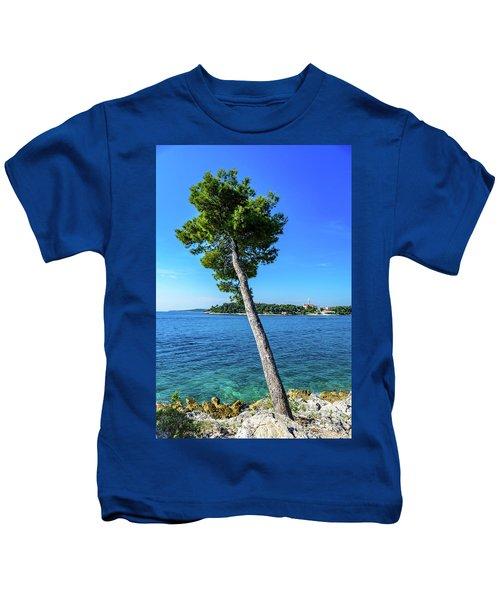 Seaside Leaning Tree In Rovinj, Croatia Kids T-Shirt