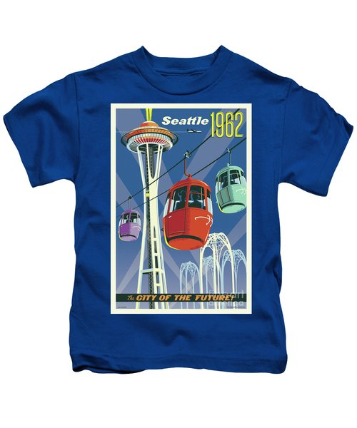 Seattle Poster- Space Needle Vintage Style Kids T-Shirt