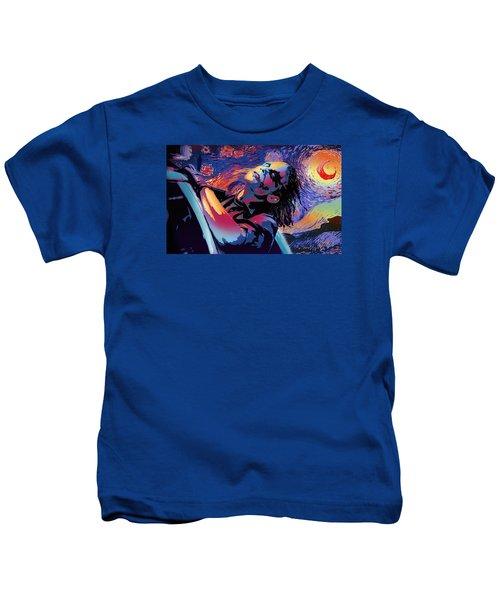 Serene Starry Night Kids T-Shirt by Surj LA