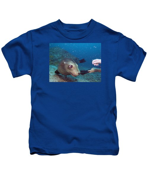 Shaking Hands And Fins Kids T-Shirt